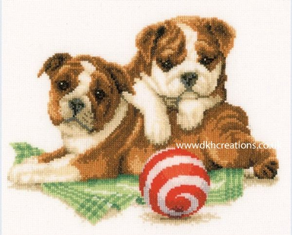 Bulldog Puppies Cross Stitch Kit